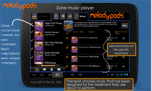 Melody Podbackground music player for business. massage envy, massage heights, hand and stone, spa810