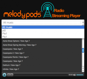 The background music radio streaming interface with drop down playlist showing.