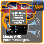 UK royalty free music for business plus overhead messaging jingles features